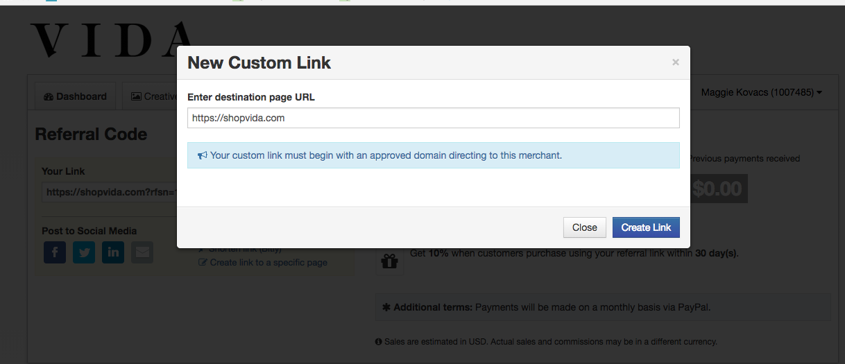 How to create specific affiliate link for a specific product